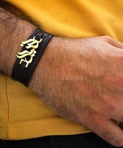 دستبند چرم طلا اسم دانیال